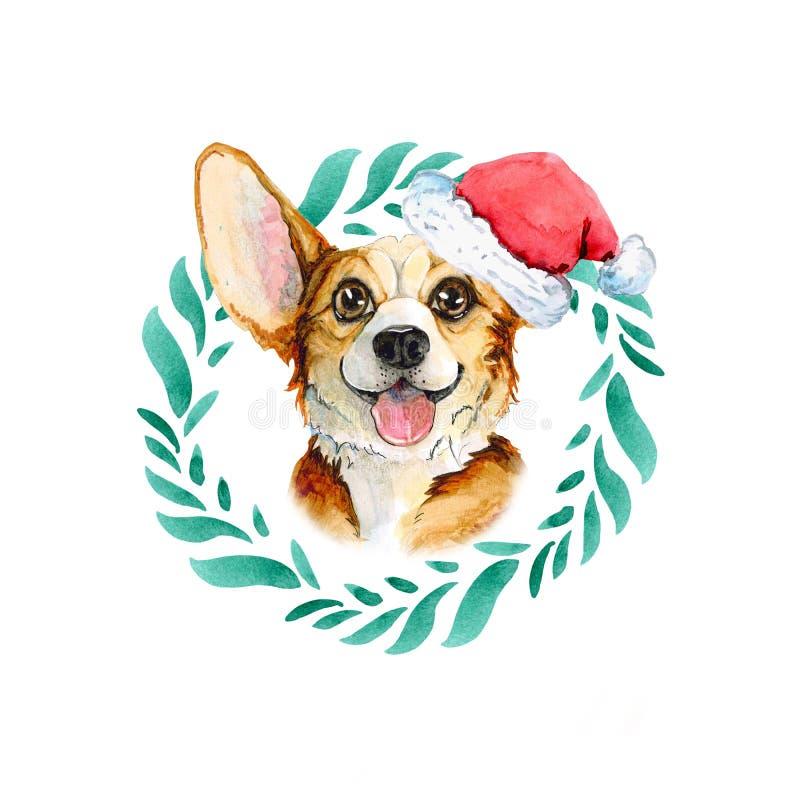 Corgi in een groene die kroon van bladeren in Kerstmishoed van de Kerstman wordt gemaakt Waterverfpuppy op witte achtergrond word royalty-vrije illustratie