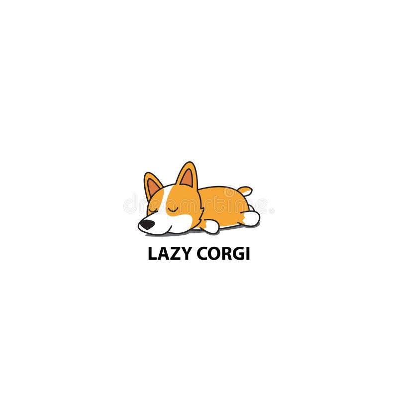Corgi paresseux, icône mignonne de sommeil de chiot illustration libre de droits