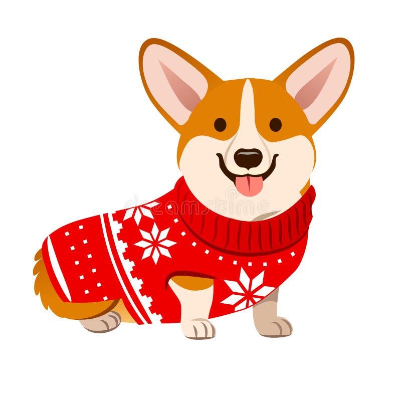 Corgi pies jest ubranym Bożenarodzeniowego czerwonego pulower z Północnym płatkiem śniegu ilustracja wektor