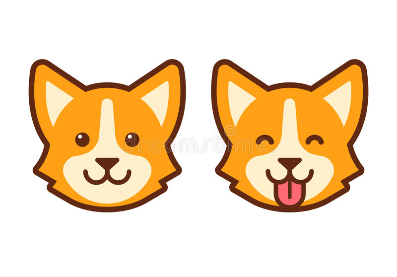 Corgi psa twarzy ikona ilustracji
