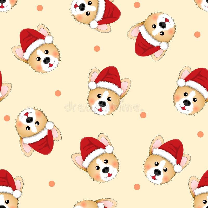 Corgi Santa Claus on Beige Ivory Background. Vector Illustration royalty free illustration