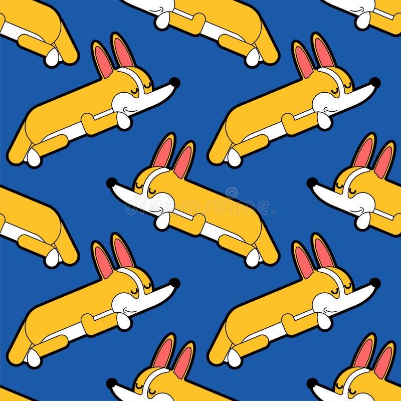 Corgi som sover den sömlösa modellen sovande liten hundtecknad filmbakgrund gullig husdjurvektortextur vektor illustrationer