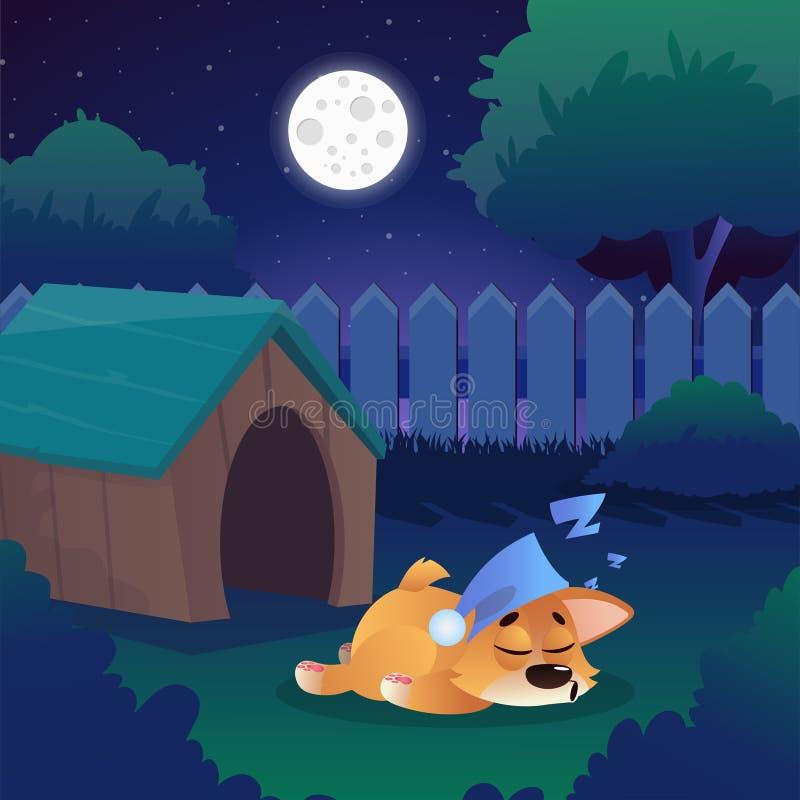 Corgi som sover på äng nära hans hus på trädgård Nattlandskapet med stjärnklar himmel, fullmånen, gröna träd, borstar stock illustrationer