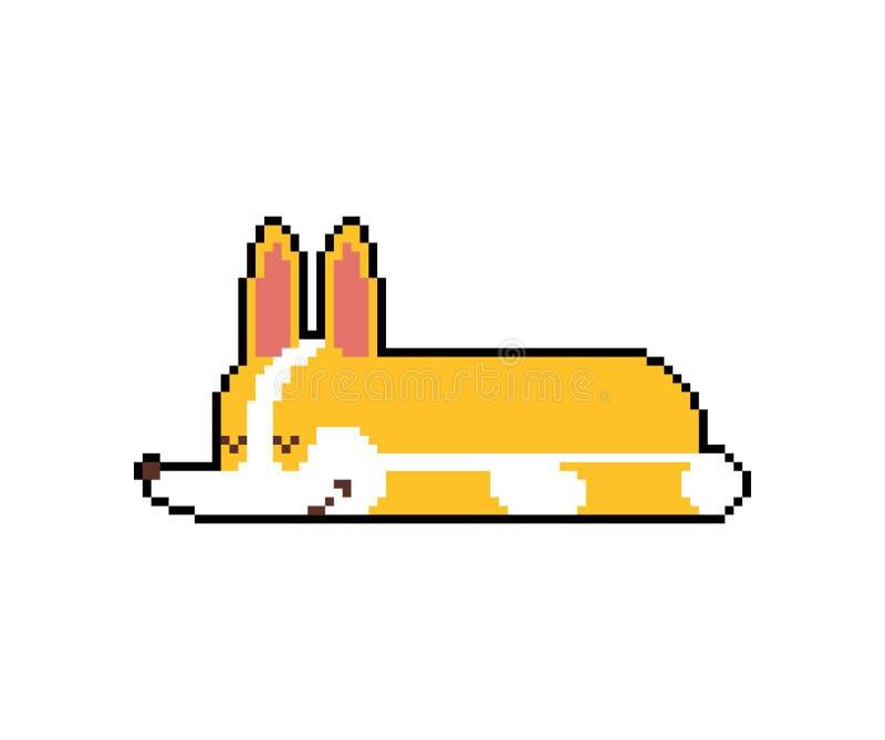Corgi som sover PIXELkonst sovande liten bit för hundtecknad film 8 gullig husdjurvektorillustration royaltyfri illustrationer