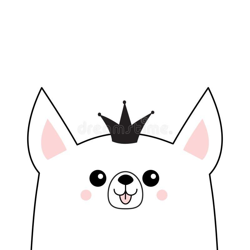 Corgi twarzy głowy psia szczęśliwa ikona Princess korony diadem Śliczny kreskówka kundla charakter Konturowa sylwetka Kawaii zwie ilustracja wektor