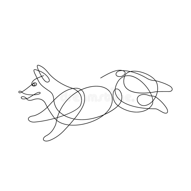 Corgihond Online drawind vector illustratie