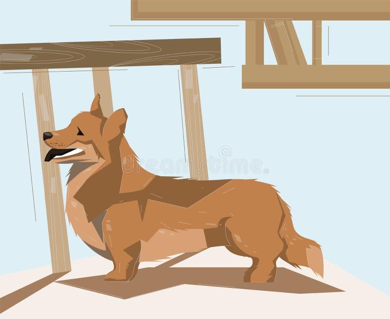 Corgihundanseende på golvet stock illustrationer