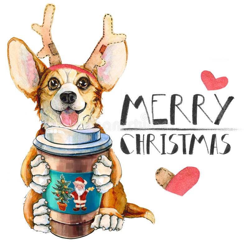 Corgipuppy in Santa Claus-hoed Hond met koffie en hertenhoornen Kerstmis Nieuwe jaarprentbriefkaar royalty-vrije illustratie