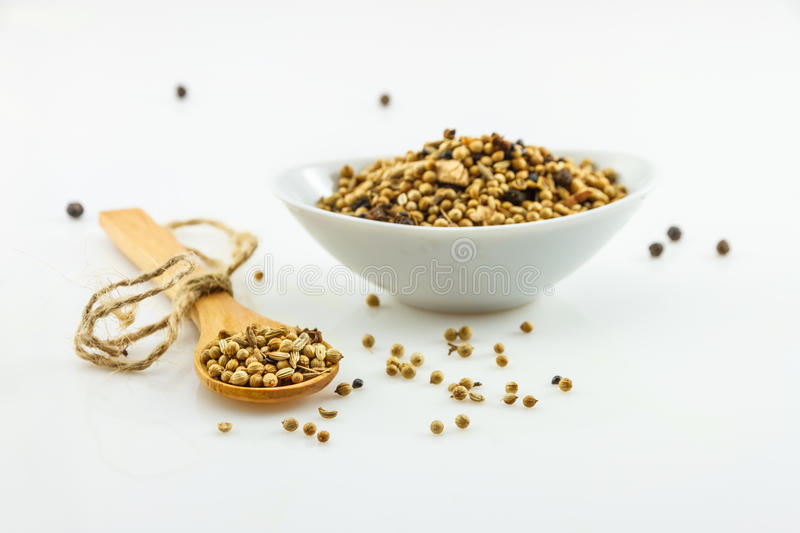 The coriander seeds on white background. The coriander seeds on white background for decorate project royalty free stock photo
