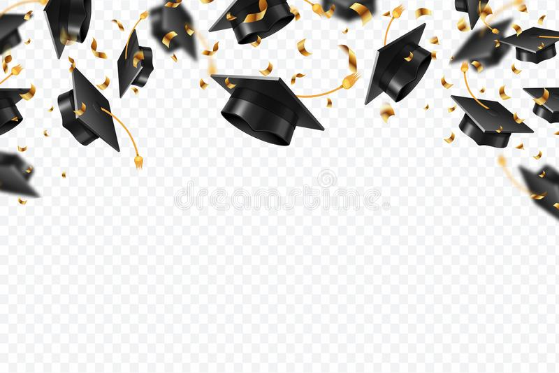 Coriandoli dei cappucci di graduazione Cappelli volanti degli studenti con i nastri dorati isolati Università, vettore di istruzi