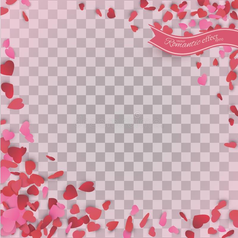 Coriandoli del cuore dei petali dei biglietti di S. Valentino che cadono sul fondo trasparente illustrazione vettoriale