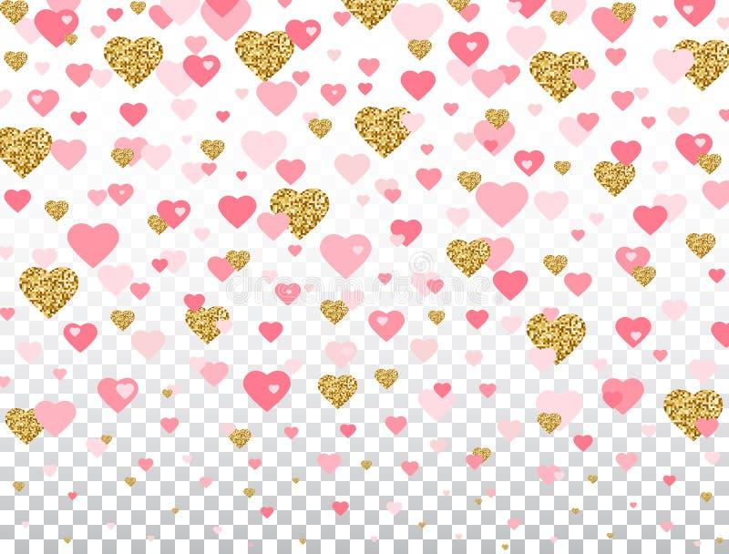 Coriandoli del cuore di scintillio dell'oro e di rosa su fondo trasparente Cuore di caduta luminoso con gli elementi romantici di illustrazione vettoriale