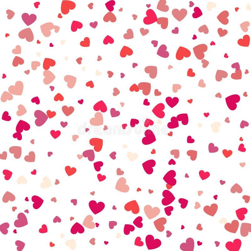 Coriandoli del cuore di volo, fondo di vettore di giorno di biglietti di S. Valentino, romanti immagini stock libere da diritti