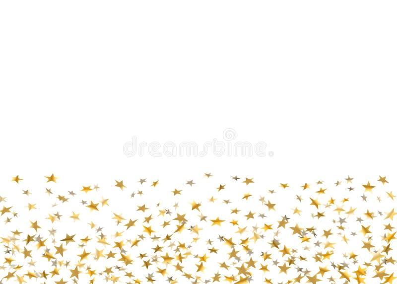 Coriandoli di caduta delle stelle d'oro su fondo bianco Partito festivo di progettazione dorata, celebrazione di compleanno, carn illustrazione di stock