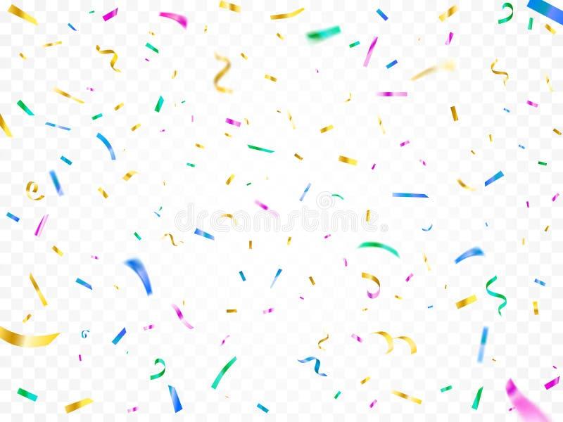 Coriandoli di caduta variopinti Decorazione del partito di festival di Natale, carte di carnevale e serpentini brillanti decorati illustrazione di stock