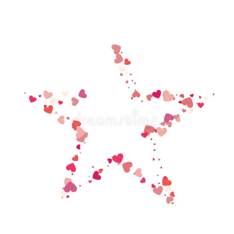 Coriandoli di rosa di vettore di forma del cuore con la struttura bianca della stella dentro illustrazione vettoriale