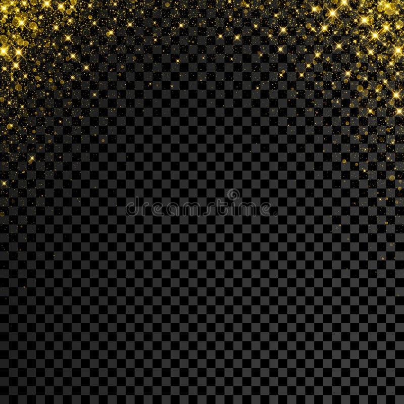 Coriandoli di scintillio dell'oro su fondo trasparente La pioggia della scintilla della stella di vettore con lustro d'ardore sch royalty illustrazione gratis