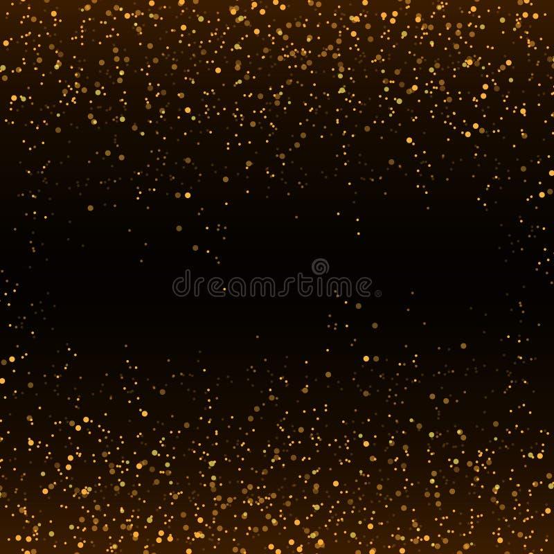 Coriandoli dorati di scintillio che cadono sul fondo nero di vettore illustrazione vettoriale