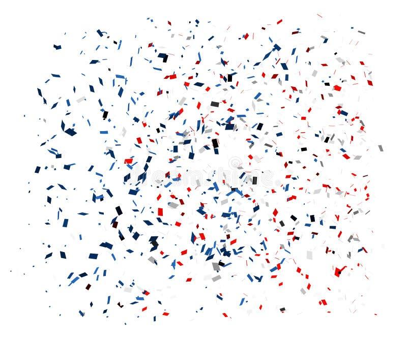 Coriandoli nei colori rossi, blu e bianchi su un fondo bianco Vettore illustrazione di stock