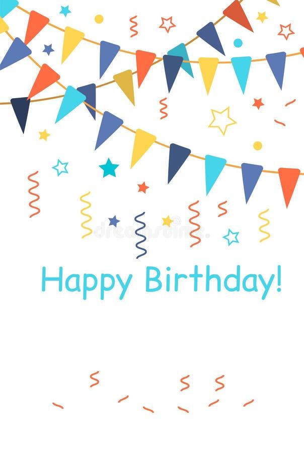 Coriandoli per il compleanno, il carnevale, la celebrazione, l'anniversario ed il fondo del partito di festa illustrazione vettoriale
