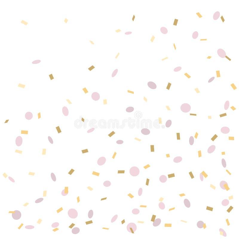 Coriandoli rosa e dorati isolati su fondo bianco, illustrazione di vettore royalty illustrazione gratis