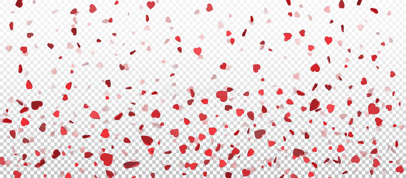 Coriandoli rossi del cuore di volo, fondo di giorno di biglietti di S. Valentino Progetti l'elemento per la cartolina d'auguri ro illustrazione vettoriale