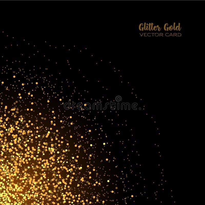 Coriandoli rotondi di scintillio dorato alla moda sul fondo nero di vettore illustrazione vettoriale