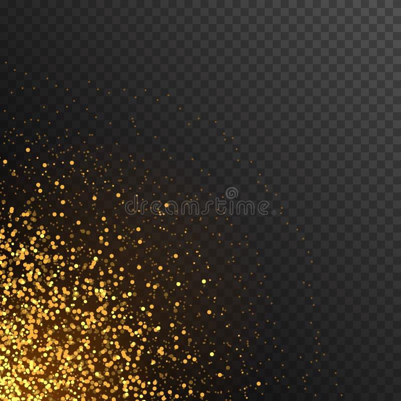 Coriandoli rotondi di scintillio dorato alla moda sul fondo di vettore illustrazione vettoriale