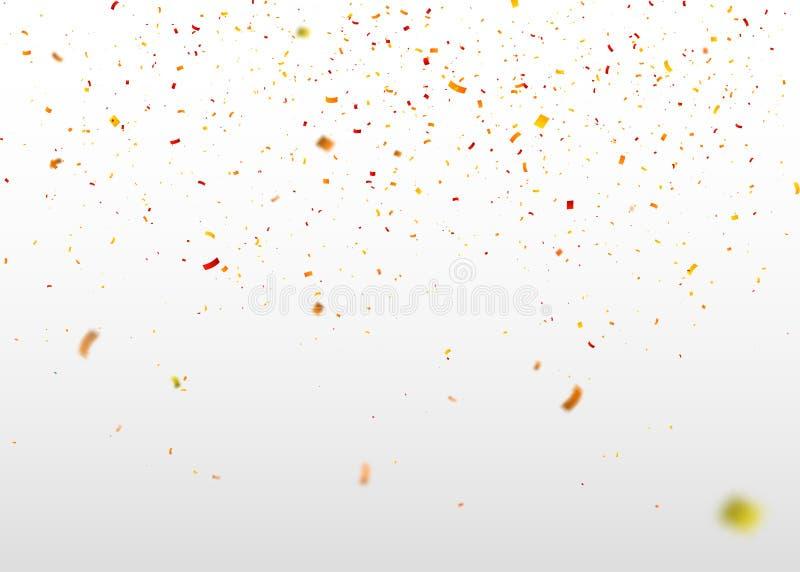Coriandoli variopinti che cadono a caso Fondo astratto con le particelle di volo Illustrazione per la cartolina d'auguri, carneva illustrazione vettoriale