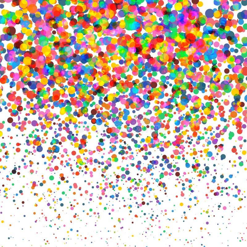 Coriandoli variopinti isolati su fondo quadrato trasparente Natale, compleanno, concetto del partito di anniversario confetti illustrazione vettoriale