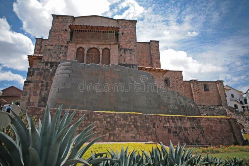 Coricancha, Convent of Santo Domingo, and courtyard. The religious complex of Coricancha Qorikancha in the Inca capital at Cuzco contained the Temple of the Sun stock photo