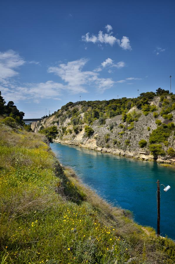 Corinth Canal, tidal waterway across the Isthmus of Corinth in Greece, joining the Gulf of Corinth with the Saronic Gulf royalty free stock photos