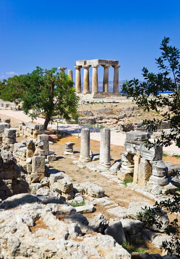 corinth greece fördärvar tempelet arkivbild