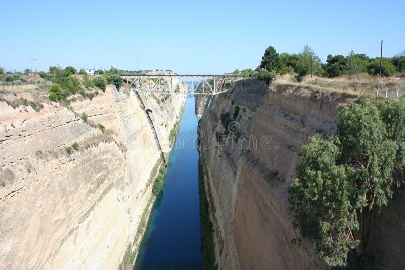 Corinth kanal, Grekland, sikt från en bro royaltyfri fotografi