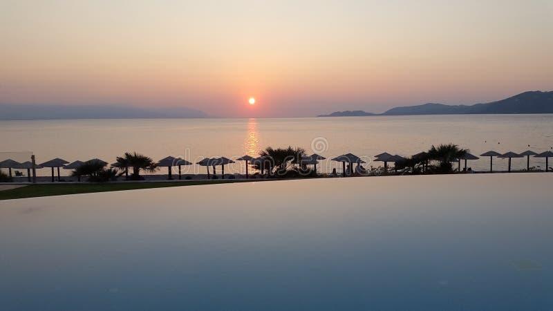 Corinth solnedgång fotografering för bildbyråer