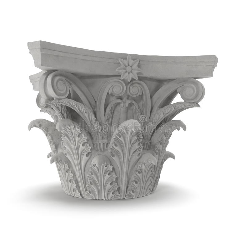 Corinthian Order Column Capital on white. 3D illustration. Corinthian Order Column Capital on white background. 3D illustration vector illustration