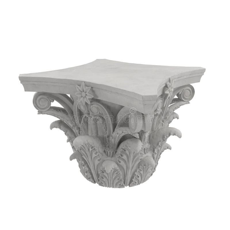 Corinthian Order Column Capital on white. 3D illustration. Corinthian Order Column Capital on white background. 3D illustration royalty free illustration