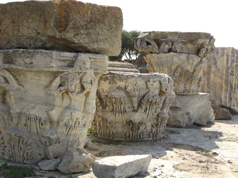 Corinthiankolonnhuvudstäder Carthage Tunisien royaltyfria bilder