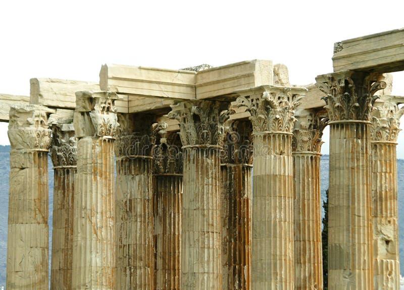 Corinthisch Kolommendetail van de Tempel van Olympian Zeus in Athene royalty-vrije stock afbeeldingen