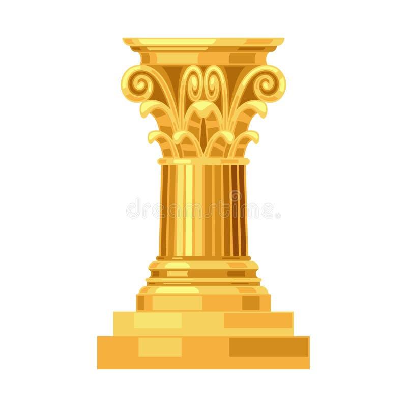 Corinthische realistische antieke Griekse gouden kolom vector illustratie