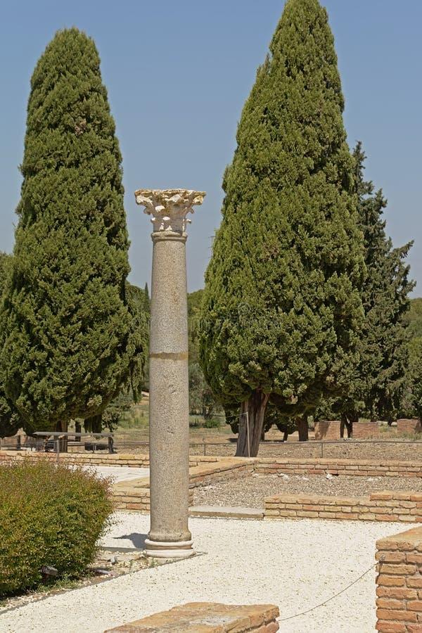 Corinthische roman kolom in de Ruïnes van Italica, Roman stad in de provincie van Hispania Baetica stock foto's