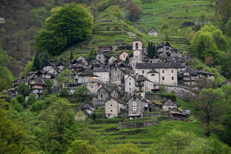 Corippo, Verzasca谷,瑞士 库存图片