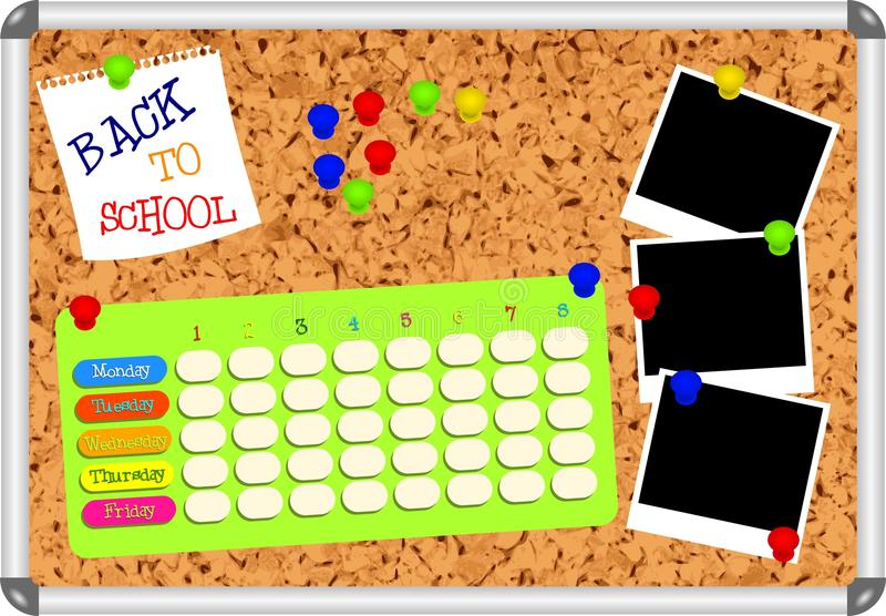 Cork board with blank school plan. Pins, empty snapshot frames and text BACK TO SCHOOL - vector illustration stock illustration