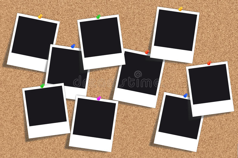 Cork board - Bulletin board - Pinboard. Bulletin board - Cork board with many empty photos and different colored thumbtacks vector illustration
