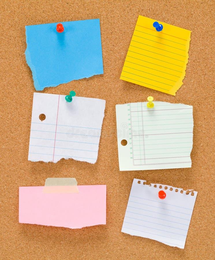 Cork Board et notes photographie stock libre de droits