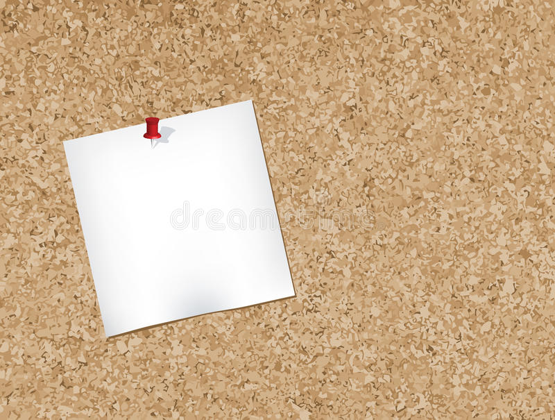 Cork bulletin board. Note pad pinned to a cork bulletin board.Vector illustration vector illustration
