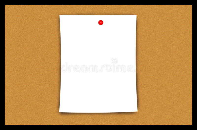 Cork Bulletin Board Blank Paper Sheet Illustration. Cork bulletin board with blank paper illustration. Nice graphic as is or can be used for post-editing for stock illustration