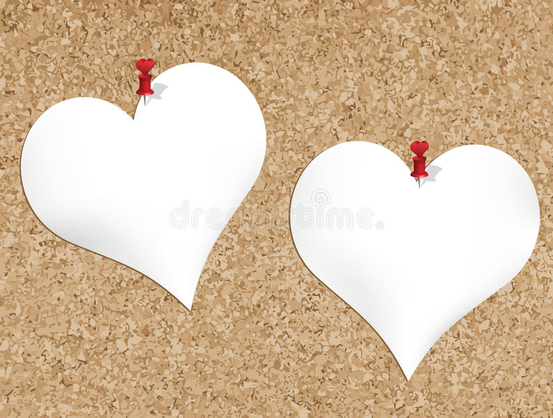 Cork bulletin board with heart shaped notepads. For valentines day stock illustration