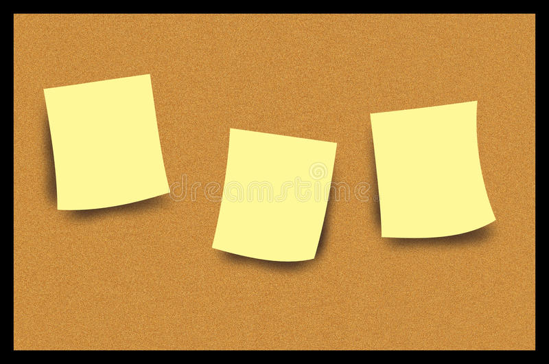 Cork Bulletin Board Post It Note Illustration. Cork bulletin board with blank paper post it notes illustration. Nice graphic as is or can be used for post vector illustration