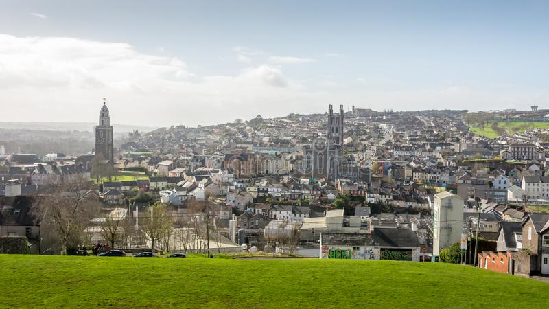 Cork City center Ireland old town North Cathedral morning low light beautiful view church hill. Amazing view royalty free stock photography